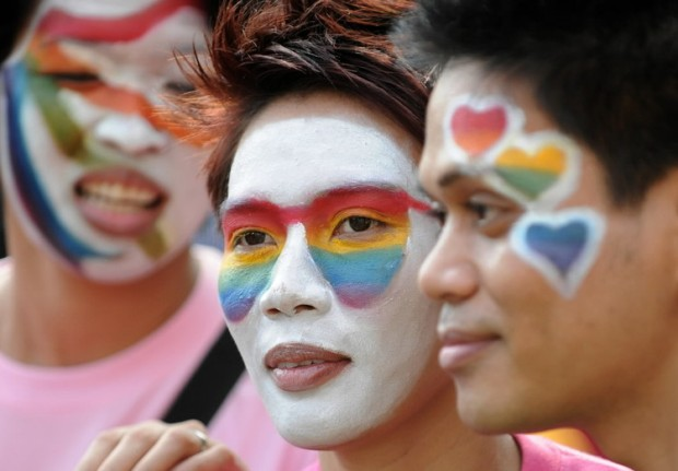 LGBT activists marching at the UP Pride March